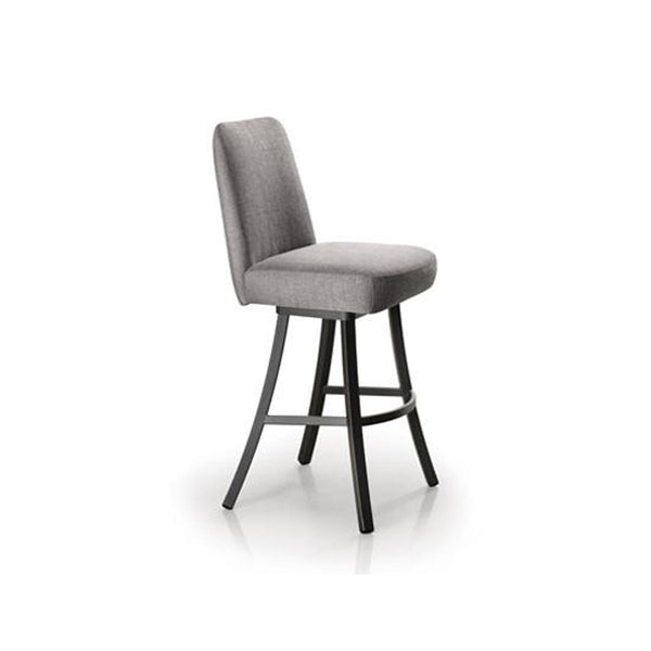 Grey modern upholstered counter stool with grey powder coat metal legs