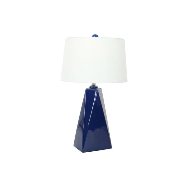 Navy ceramic modern table lamp with white shade