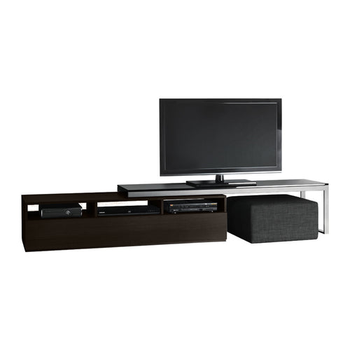dark wood and metal modern media unit with grey fabric ottomon