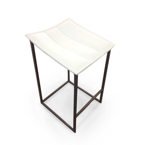 White modern leather counter stool with brown powder coat metal legs
