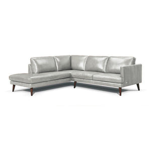 Navy modern leather sectional, right hand facing