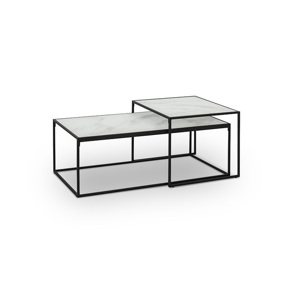 White marble modern coffee table set with matter black metal base