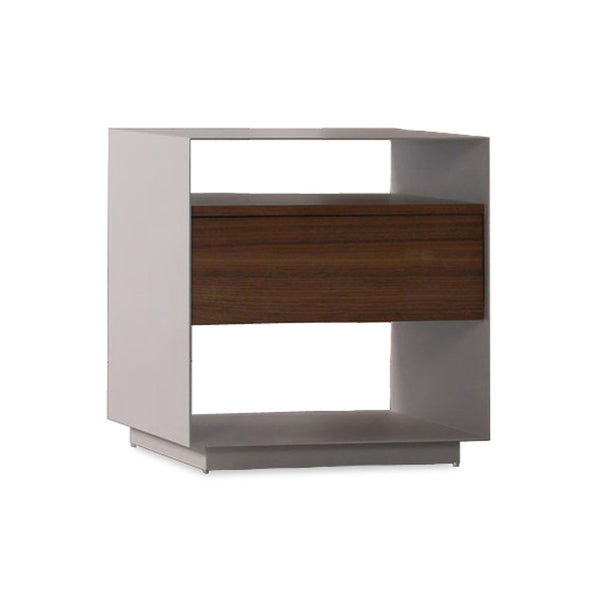 Grey powder coat modern 1 drawer night stand with walnut accents