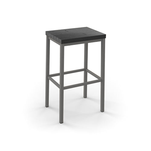 Modern backless stool with wooden seat and metal frame