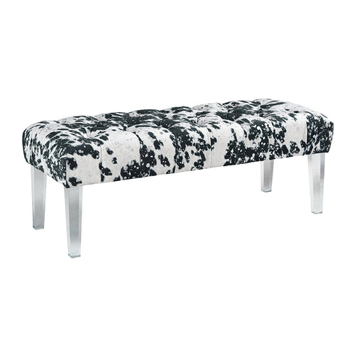 Black and white cowhide modern bench with clear acrylic legs