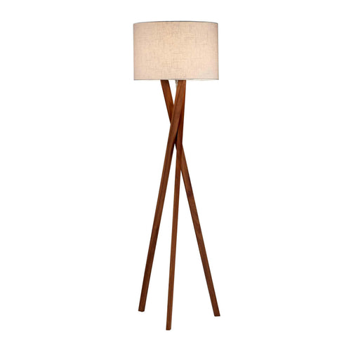 walnut tripod modern floor lamp with linen shade