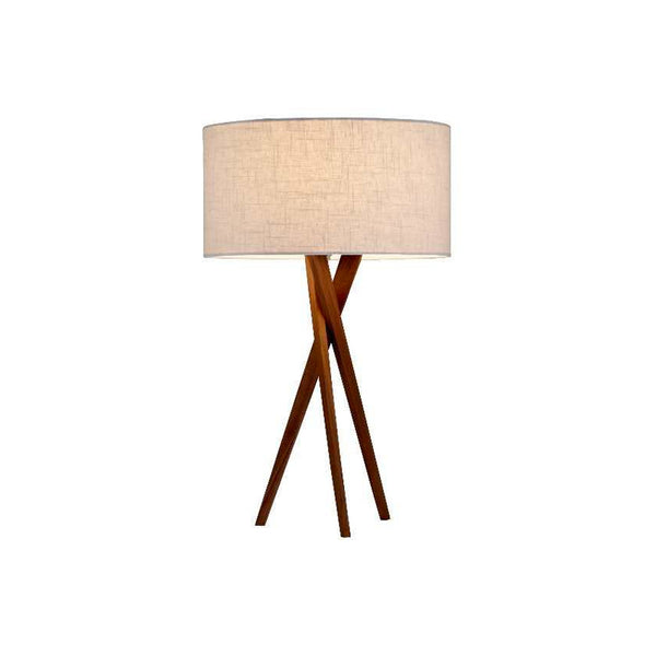 walnut tripod modern table lamp with linen shade