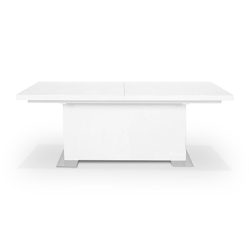 White gloss modern extendable dining table with stainless steel feet