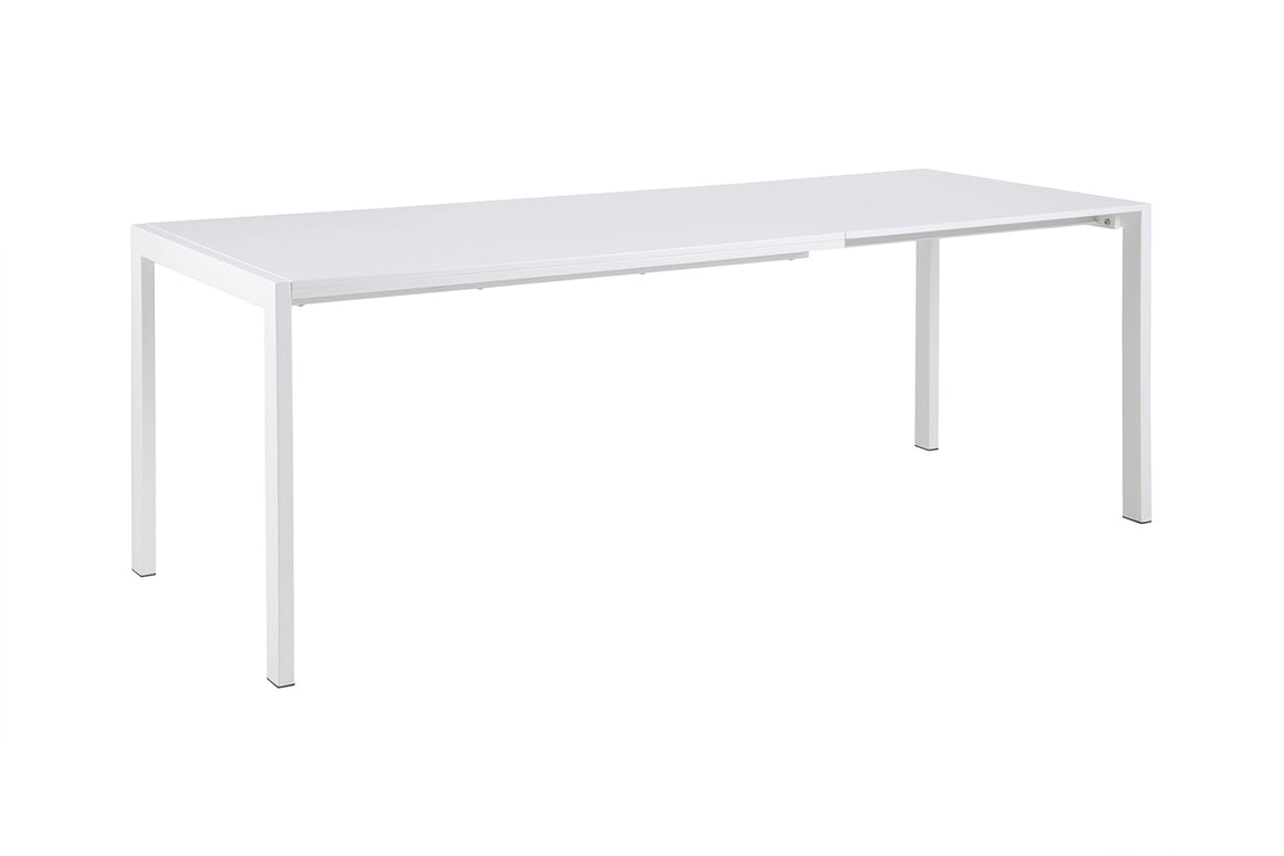 High gloss white modern extendable dining table with white metal base