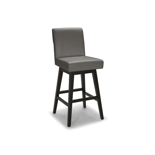 Grey Brown modern leather counter stool with dark wood legs
