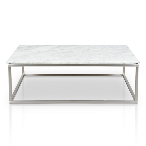 White modern marble coffee table with brushed stainless steel base