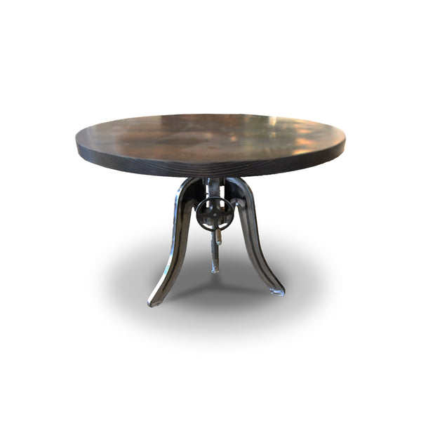 Modern wood round dining table with metal base