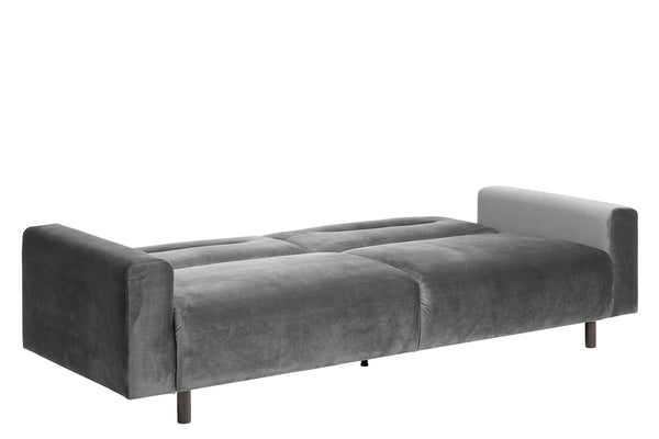 Grey modern fabric sofa bed with wood legs