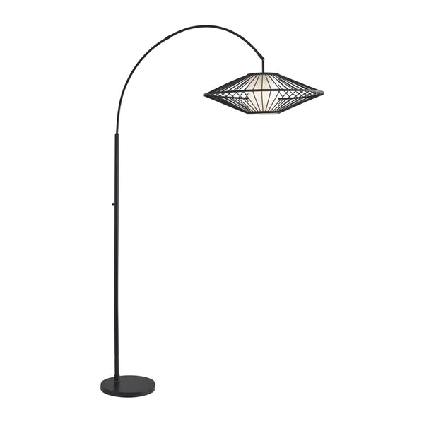Black modern arc lamp with white inner shade