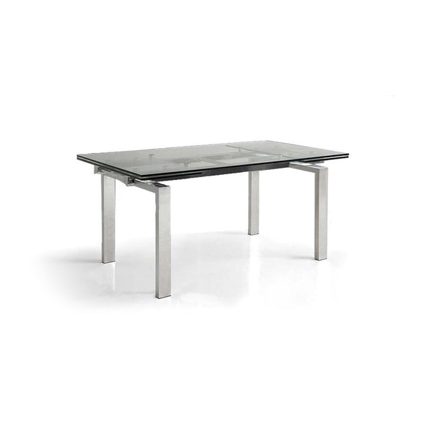 Modern glass extendable dining table with chrome base