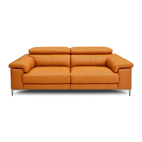 modern orange fabric reclining sofa with  USB and metal leg