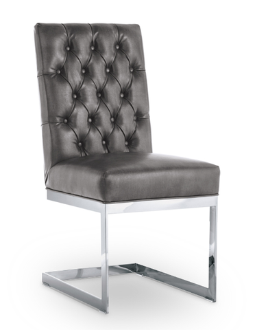Dark Grey Modern Button Tufted Leather Dining Chair with Stainless Steel Frame
