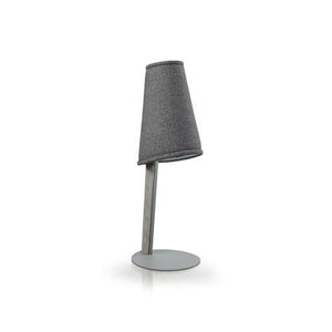 Brushed stainless steel modern lamp with fabric shade and solid wood accent
