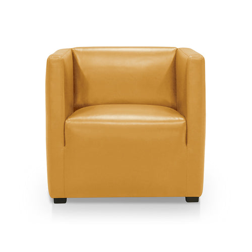 honey yellow modern leather armchair with dark wood legs