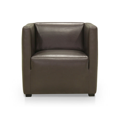 Dark grey modern leather armchair