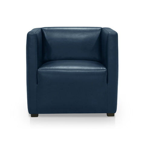 Navy modern leather arm chair with dark wood legs