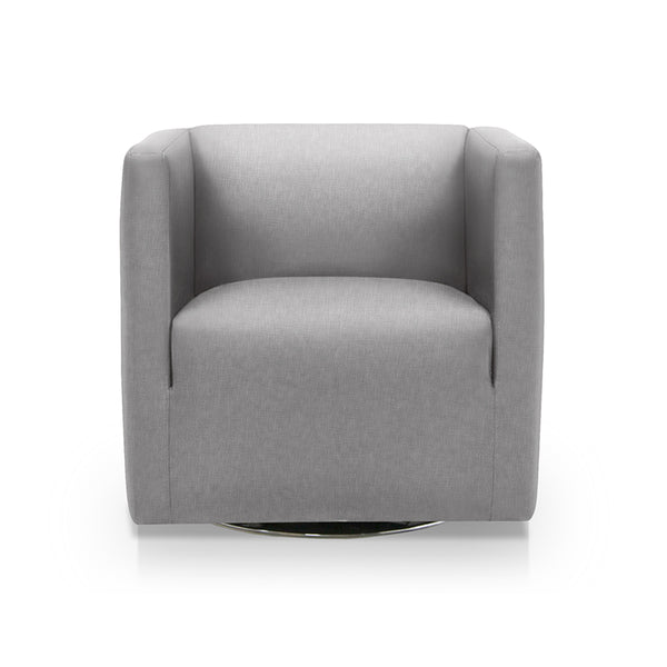 Charcoal grey modern fabric swivel arm chair