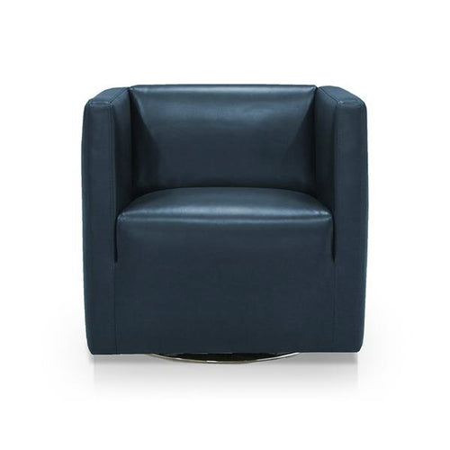 dark denim navy blue modern leather swivel arm chair