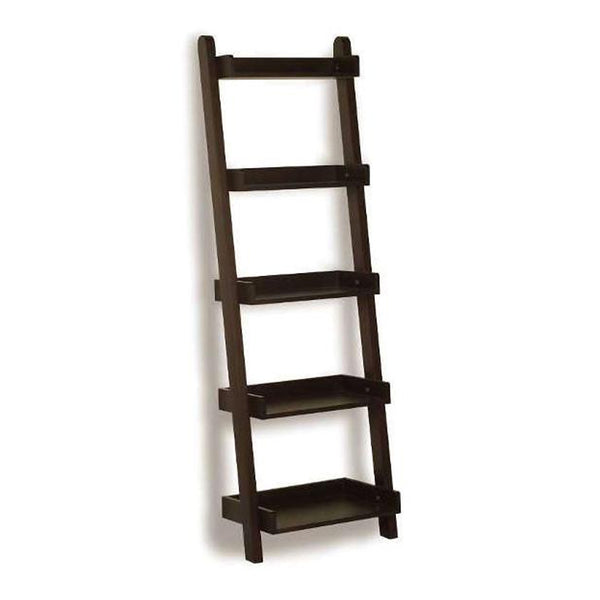 Modern matte black solid wood leaning bookcase