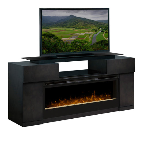 Black modern electric fireplace media unit with storage