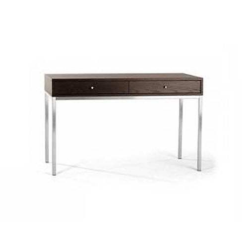 Modern walnut veneer desk with two drawers and brushed metal base