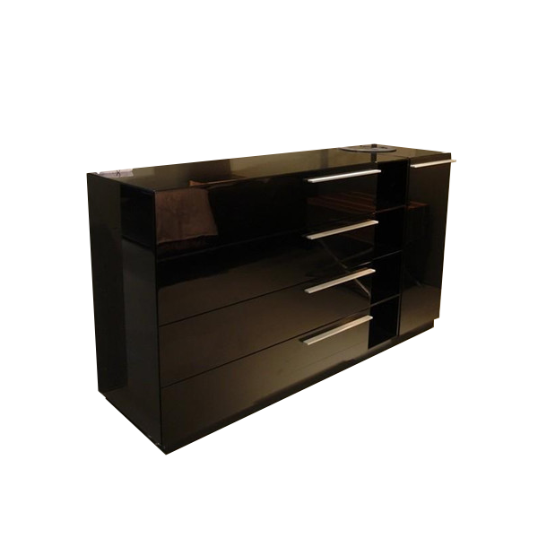 modern black gloss dresser sideboard media unit with polished metal handles