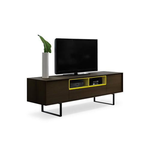 Dark modern wood tv unit with yellow inner shelf