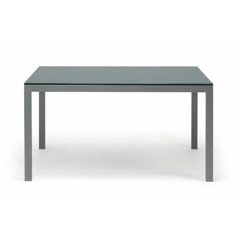 Modern glass dining table with metal legs