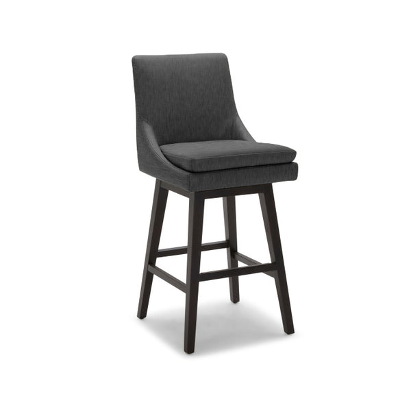 Black modern leatherette counter stool with dark wood legs