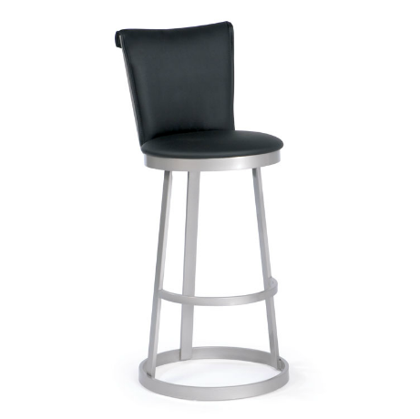 black modern leather counter stool with brushed steel legs