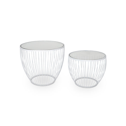 Matte White modern wire and tempered glass table set