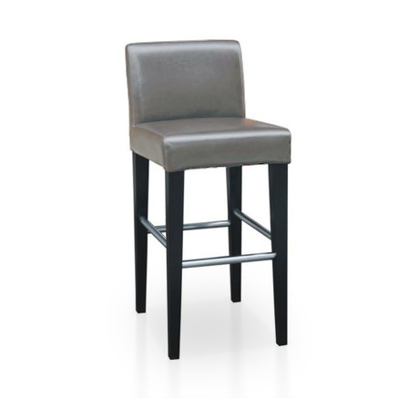 Grey brown modern bonded leather counter stool with dark legs