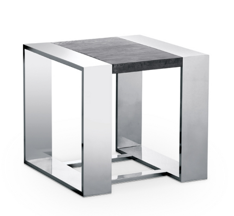 Dark Grey Modern Wood End Table with Stainless Steel Base
