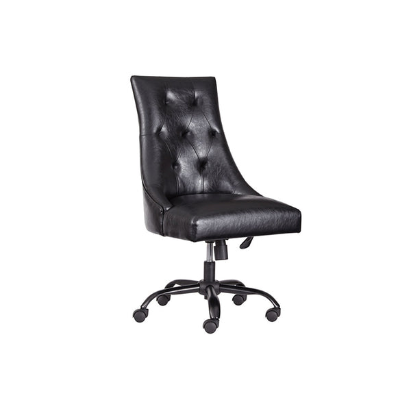Black tufted modern leather desk chair