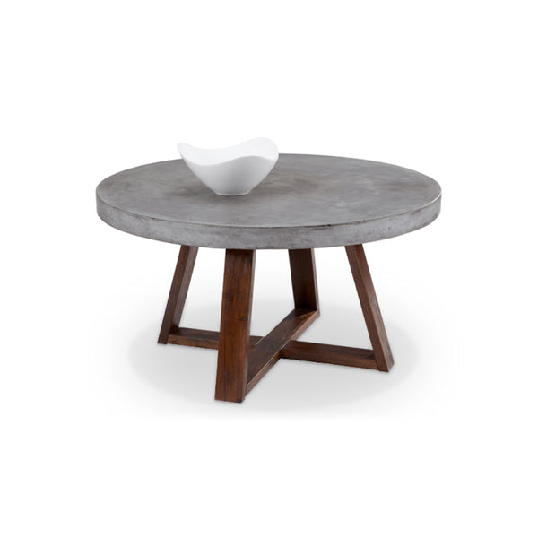 modern concrete round coffee table with espresso wood base