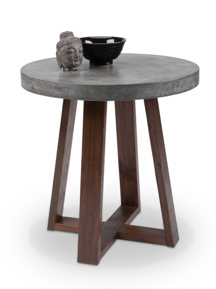 modern concrete round end table with espresso wood base