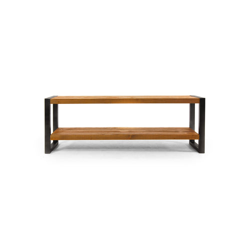 Modern raw pine media unit with black iron frame