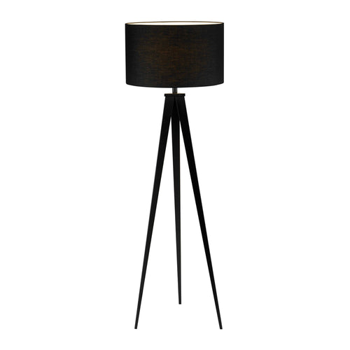 Black modern floor lamp with three angular metal legs and drum shade