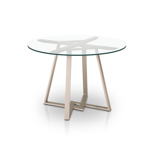 Modern round glass dining table with powder coated metal base