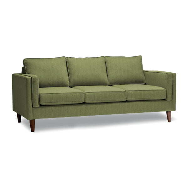 Grey modern fabric sofa with walnut legs