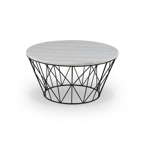 White marble modern round coffee table with black metal base