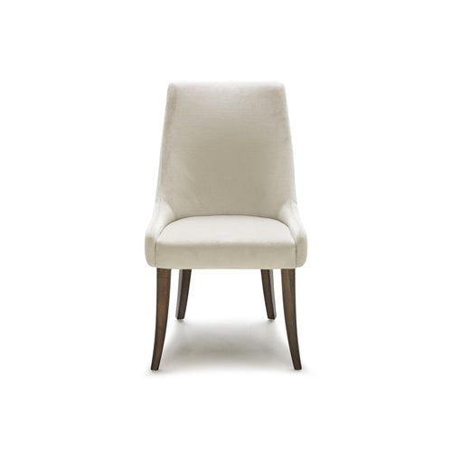 Off white modern fabric dining chair with walnut legs