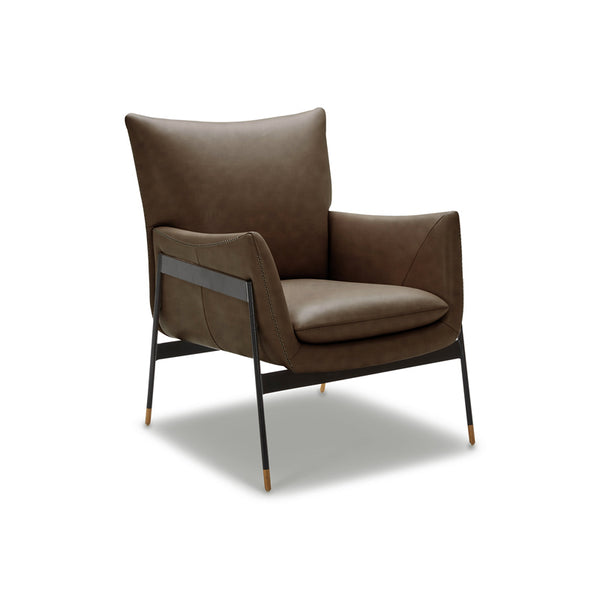 modern saddle brown leather arm chair with black metal frame and wood foot detail
