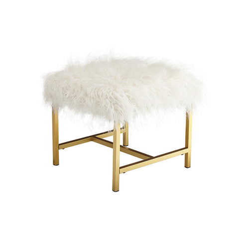 White modern furry stool with gold metal legs