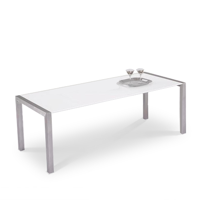 White modern extendable dining table with brushed steel frame